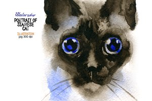 Watercolor portrait of Siamese cat