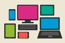 smartphone, tablet, computers set