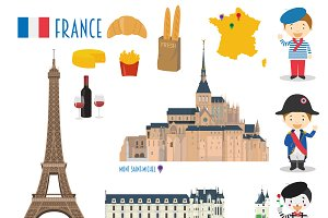 France Flat Icon Set Travel