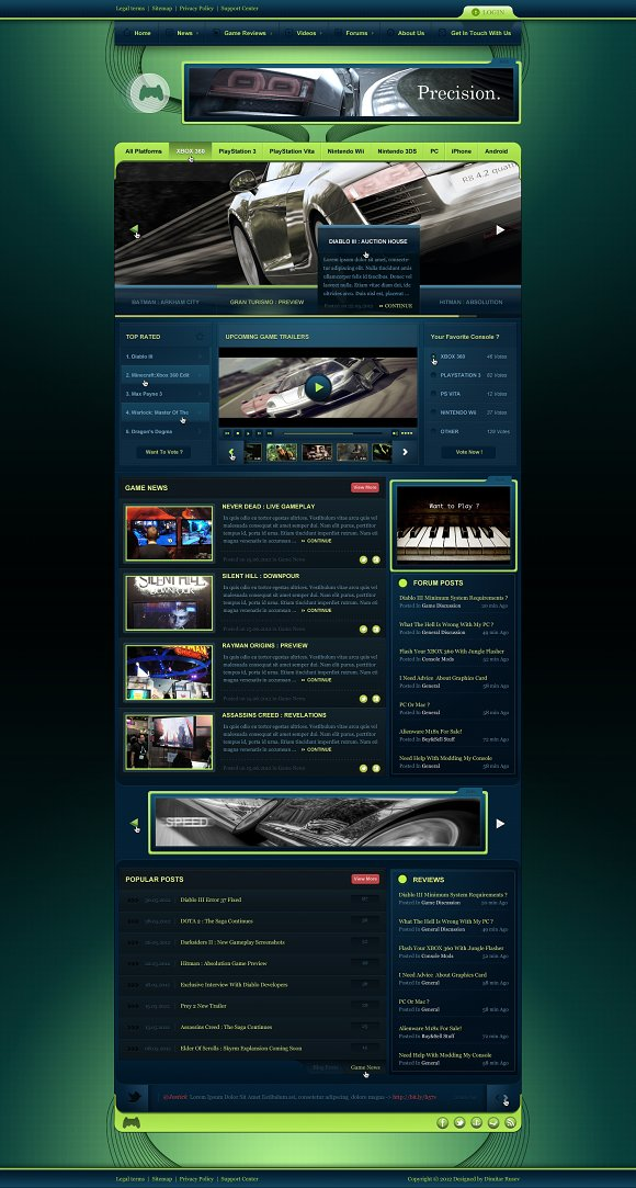 Gaming Website Template Free