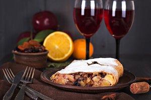 strudel and wine