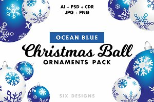 Christmas Ball Ornaments Pack - Blue