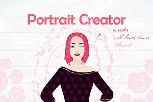 Female portrait creator (vector+PSD)
