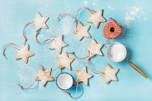 Gingerbread star shaped cookies