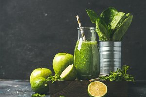 Green smoothie in bottle