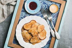 Whole grain pancakes, raspberry jam