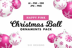 Christmas Ball Ornaments - Pink