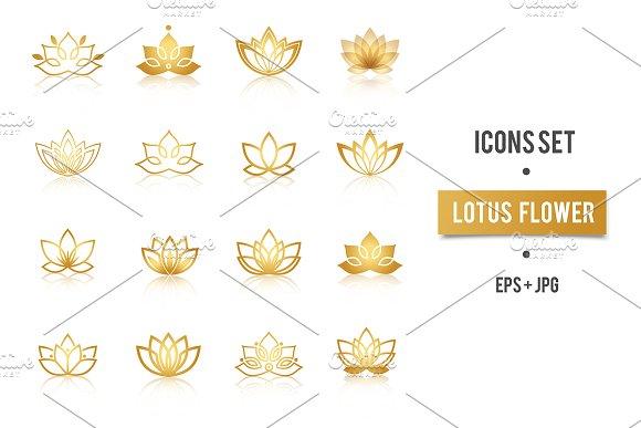 Lotus Golden Symbols Vector Set