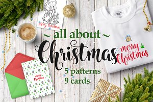 Christmas.Cards,hand-drawn,pattern.