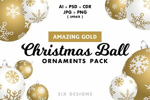 Christmas Ball Ornaments Pack - Gold