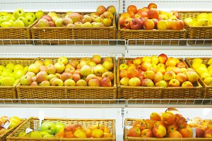 Fresh fruits in a supermarket
