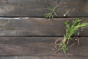Sprigs of rosemary tied with string