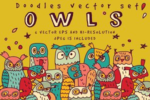 Owls doodles vector set