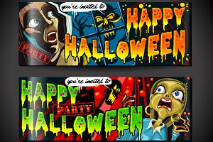 Halloween Party Banners Invitation