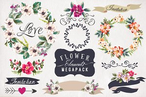 30%Off • Hand-drawn flower MEGAPACK