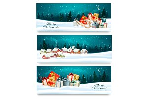 Three Christmas festive banners