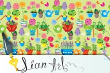 Seamless pattern with flowers in pot