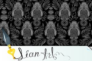 seamless pattern with lace owls