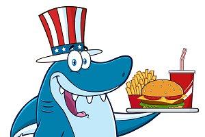 American Blue Shark Character