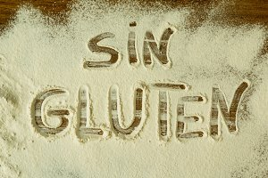 Flour with writted word Gluten