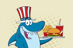 American Shark Holding A Platter