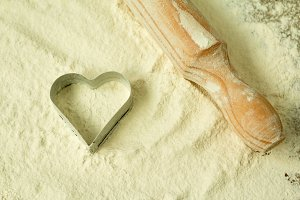 Heart shape in the flour