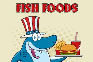 Shark Character With Patriotic Hat