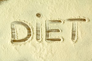 The word Diet on the flour