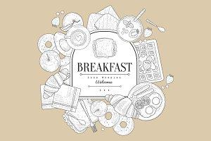 Breakfast, Hand drawn Vector