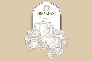 Breakfast Food Vintage Vector