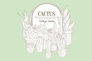Cactus Set Vintage Vector