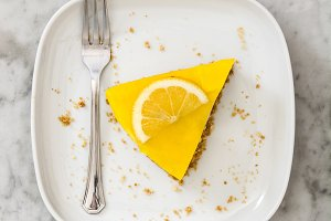 Lemon pie on marble background