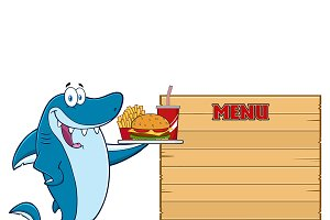 Blue Shark Cartoon Mascot Character