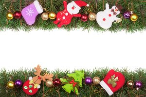 Christmas frame made of fir branches decorated with balls Snowman and Santa Claus isolated on white background