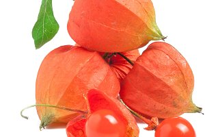 heap or bunch of Physalis isolated on a white background
