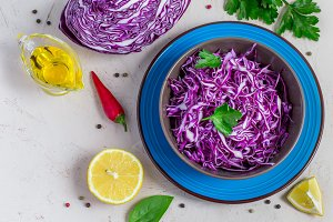 Purple cabbage salad in bowl