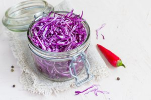 Bank of red pickled cabbage