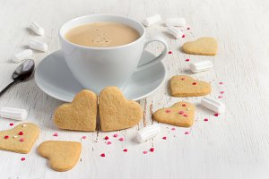 Valentine's Day Cookies in shape of heart and coffee