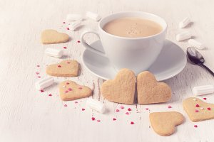 Valentine's Day Cookies in shape of heart and coffee, tinted