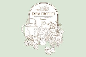 Farm product, Hand drawn Vector