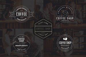 10 Coffee Shop Flat Line Logo