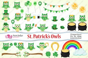St. Patrick's day owls clipart