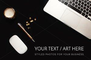 Gold, Black and White Desktop