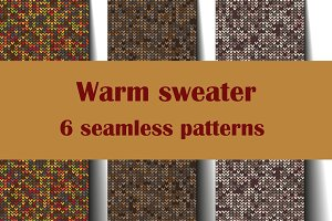 Warm sweater - 6 seamless patterns