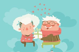Couple of elderly angels