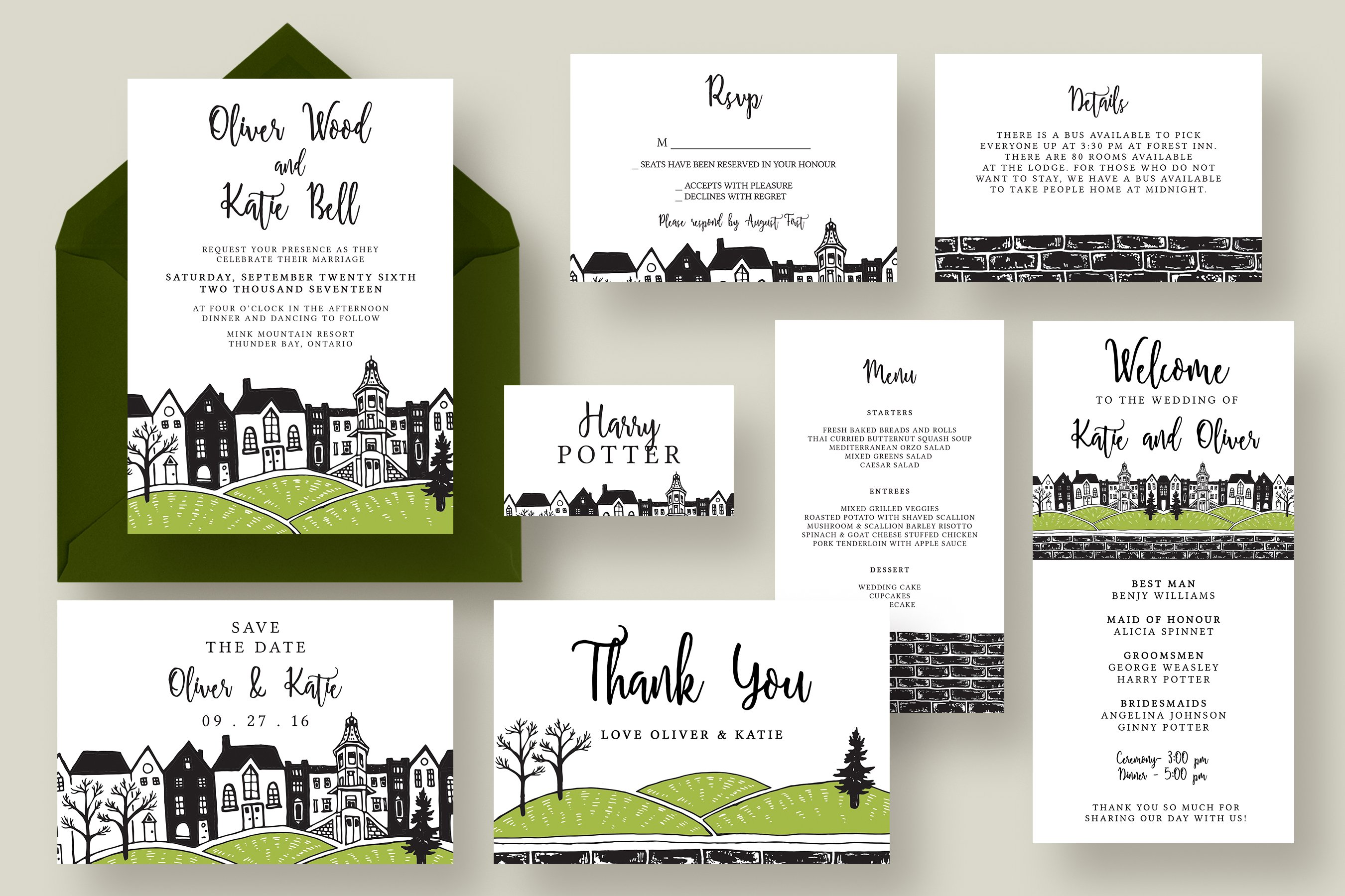Wedding Invitation Suite Templates: Town Wedding Invitation Suite