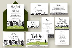 Town Wedding Invitation Suite