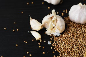 white garlic on buckwheat
