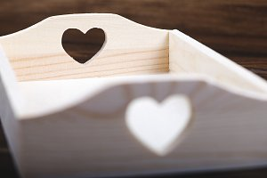 Wooden server with cut heart