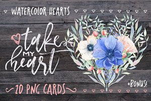 TAKE MY HEART Valentines cards set